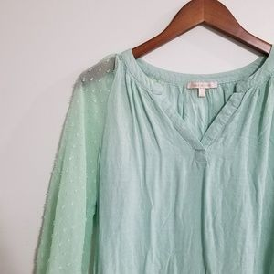 Skies Are Blue Mint Green/Blue Flowy Blouse Small